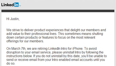 LinkedIn Intro Retirement Email